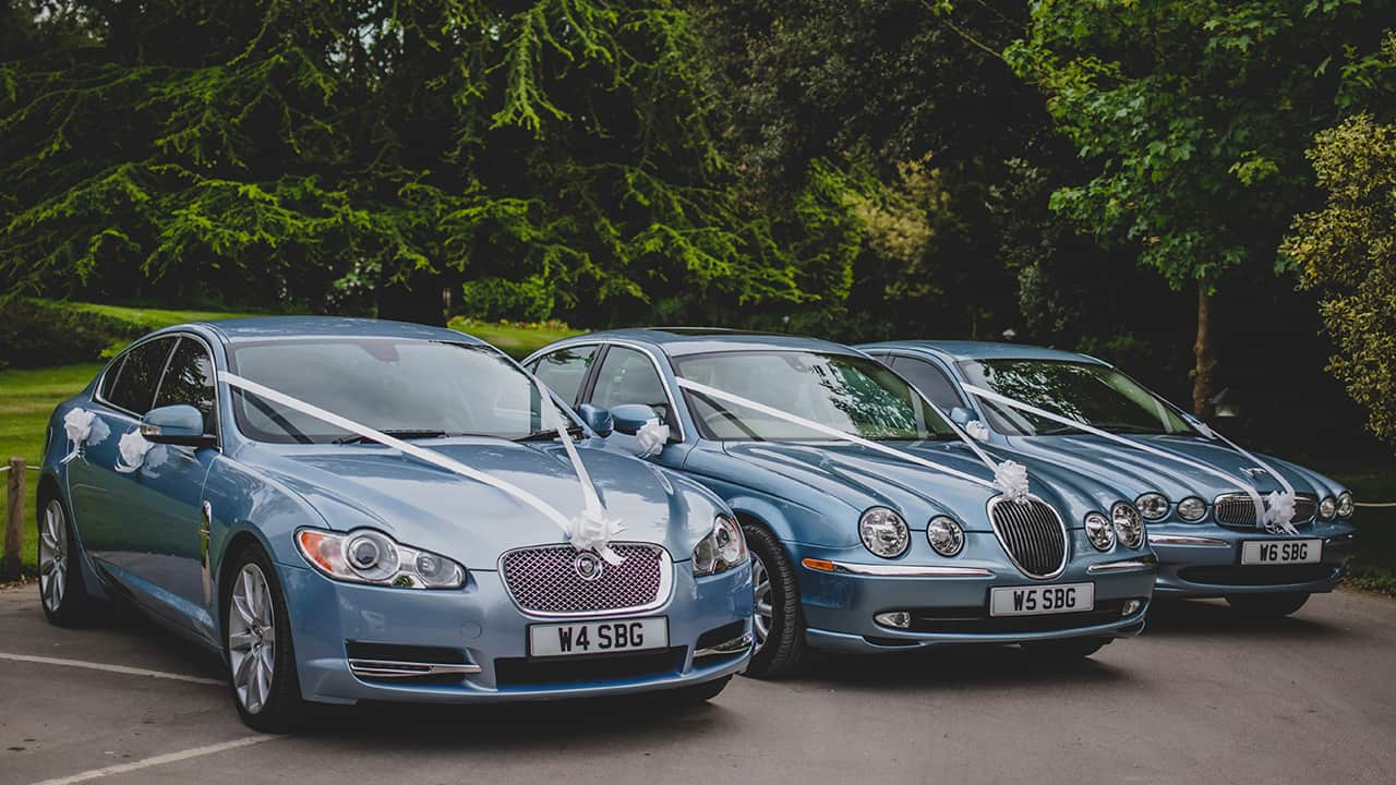 Wedding Cars Gloucestershire Jaguars at wedding Cotswolds